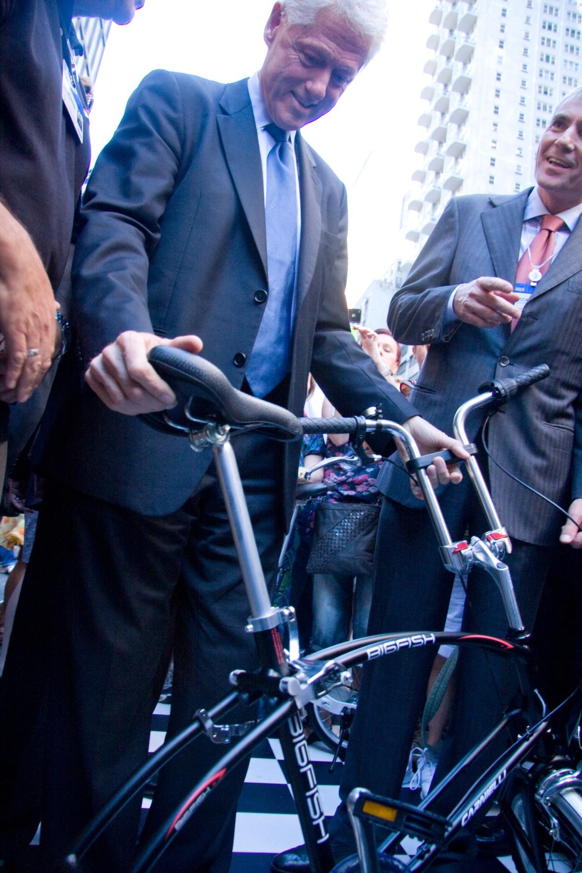 Bill Clinton with Bigfish Folding bike
